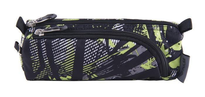 """Pencil case, with zipper, PULSE """"Teens Green Riddle"""", green-black"""