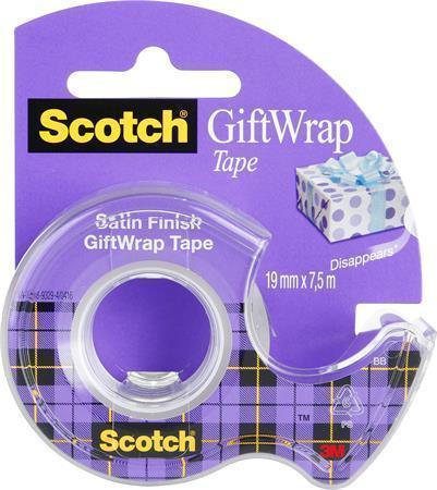 """Lepicí páska s odvíječem """"GiftWrap"""", transparentní, 19 mm x 7,5 m, 3M SCOTCH"""