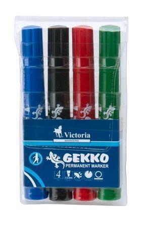 """Permanentní popisovač """"Gekko"""", mix barev, 4ks, 1-3mm, kuželový hrot, VICTORIA"""