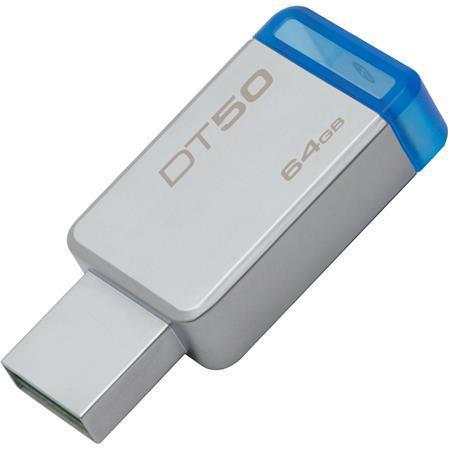 "USB flash disk ""DT50"", stříbrno-modrá, 64GB, USB 3.1, KINGSTON"
