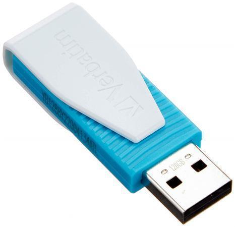 "USB flash disk ""Swivel"", modrá, 128GB, šifrování, USB 2.0, 8/2.5MB/sec, VERBATIM"