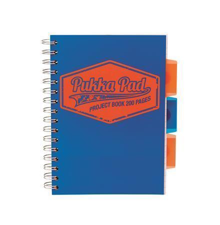 """Blok """"Project book Neon"""", modrá, A5, linkovaný, 100 listů, spirálová vazba, PUKKA PAD"""