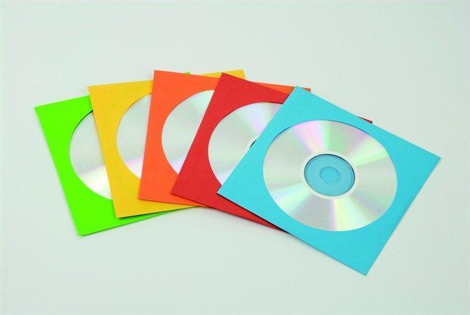 CD/DVD papírová obálka s okénkem, FELLOWES, různé barvy, 50ks/balení