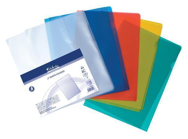 Obal, modrý, matný, typ L, A4, 80 micron, VICTORIA Počet kusů v balení: 20