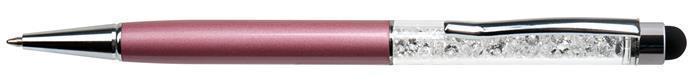 """Kuličkové a dotykové pero """"MADE WITH SWAROVSKI ELEMENTS"""", světle purpurová, s krystaly, 14 cm"""