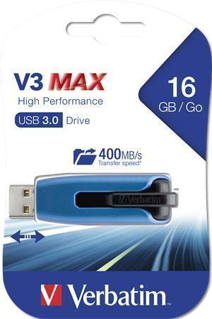 """USB flash disk """"V3 MAX"""", modrá-černá, 16GB, USB 3.0, 175/80MB/sec, VERBATIM"""