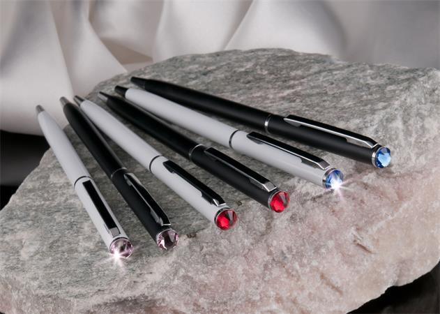 """Kuličkové pero """"SWAROVSKI® Crystals"""", bílá, krystal safírový modrý, 13 cm"""