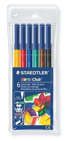 """Fixy """"Noris Club 326"""", 6 barev, sada, 1 mm, vypratelné, nevysychající, STAEDTLER Počet kusů v balení: 6"""