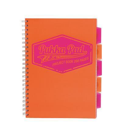 """Blok """"Project book Neon"""", oranžová, A4, linkovaný, 100 listů, spirálová vazba, PUKKA PAD"""