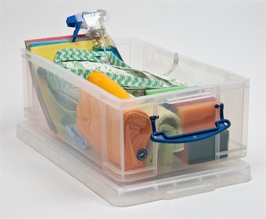 Box, plastový, s víkem, 12 l, průhledný, REALLY USEFUL