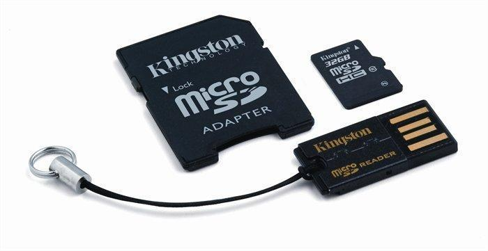 Paměťová karta microSDHC, 32GB, Class 10, 10 MB/s, SD+USB adaptér, KINGSTON