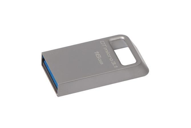 "USB flash disk ""Data Traveler Micro"", stříbrná, 16GB, USB 3.1, 100/15MB/s, KINGSTON"