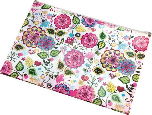 """Desky na dokumenty """"Flowers"""", se zipem, A4, PP, PANTA PLAST"""