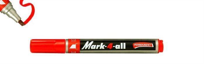 """Permanentní popisovač """"Mark-4-all"""", červená, 1-4mm, klínový hrot, STABILO"""