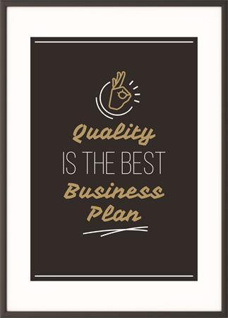 "Motivační obraz ""Quality is the best business plan"", 50x70 cm, černý rám, PAPERFLOW"