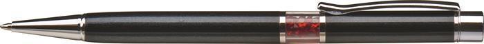 Kuličkové pero s krystaly SWAROVSKI®, černá, ve středu těla s červenými krystaly