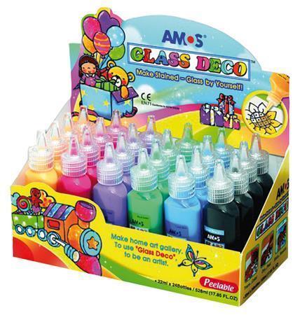 Barvy na sklo sada, 24x22ml, AMOS
