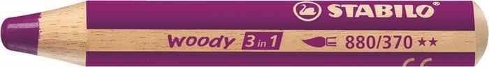 """Barevná pastelka """"Woody"""", purpurová, 3v1 – pastelka, vodovka, voskovka, STABILO"""
