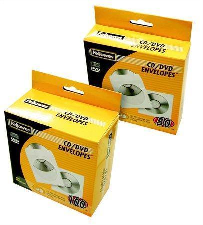 CD/DVD papírová obálka s okénkem, FELLOWES, bílá, 50ks/balení