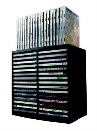 CD stojan, 30+18ks CD v krabičce, pull out systém, černý, ESSELTE