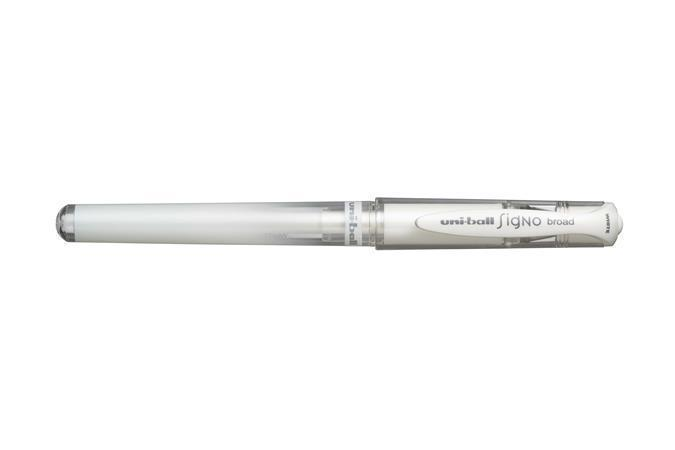 "Gel pen, 0,6 mm, cap, UNI, ""UM-153 Signo Broad"", white"