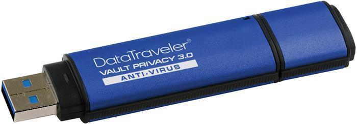 "USB Flash disk ""DTVP30AV"", modrá, 8GB, USB 3.0, 256bit šifrování, KINGSTON"