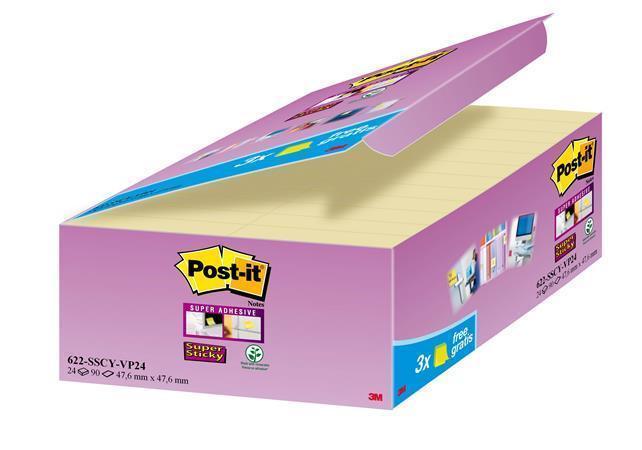 """Samolepicí bloček """"Super Sticky"""", žlutá, 48x48 mm, 24x90 lístků, 3M POSTIT Počet kusů v balení: 2160"""
