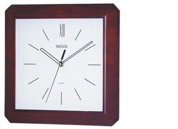 Nástěnné hodiny, tmavé dřevo, čtvercové, 28x28 cm, SECCO