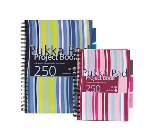 """Blok na psaní """"Project book"""", mix barev, čtverečkovaný, drátěná kroužková vazba, A5, 125 listů, PUKK"""