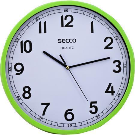 Nástěnné hodiny, zelený rám, 29,5 cm, SECCO