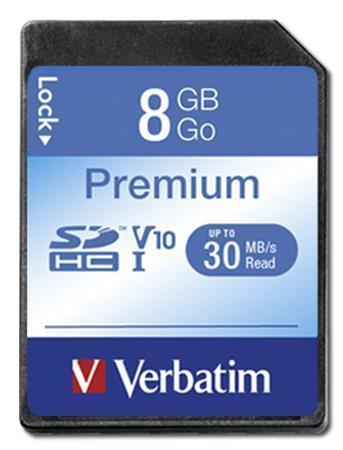 """Paměťová karta, SDHC, 8GB, C10/U1, 30/10 MB/s, VERBATIM, """"Premium"""""""