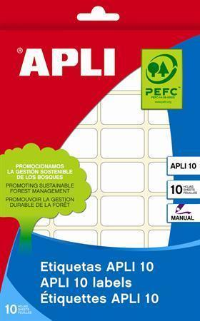 Etikety, bílá, 24x24 mm, na ruční popis, 240 ks/bal., APLI