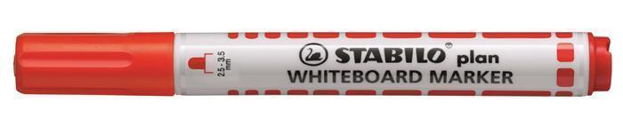 """Popisovač na bílou tabuli """"Plan"""", červená, 2,5-3,5mm, kuželový hrot, STABILO"""