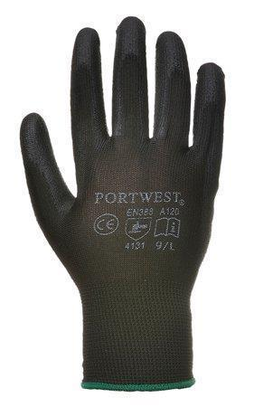 Pracovní rukavice máčené na dlani a prstech v polyuretanu, velikost 7, černé