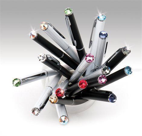 """Kuličkové pero """"SWAROVSKI® Crystals"""", bílá, krystal světle tyrkysový, 13 cm"""