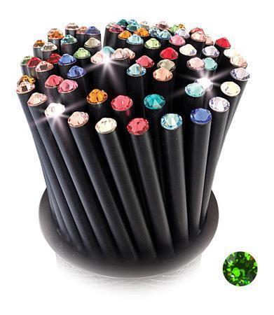 Grafitová tužka, SWAROVSKI® Crystals, svěží zelená, 17cm, černá Počet kusů v balení: 5