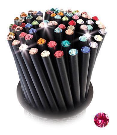 Grafitová tužka, SWAROVSKI® Crystals, jahodová, 17cm, černá Počet kusů v balení: 5