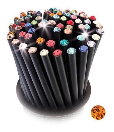 Grafitová tužka, SWAROVSKI® Crystals, oranžová, 17cm, černá Počet kusů v balení: 5