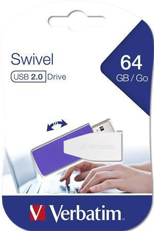 "USB flash disk ""Swivel"", fialová, 64GB, USB 2.0, 8/2MB/sec, VERBATIM"
