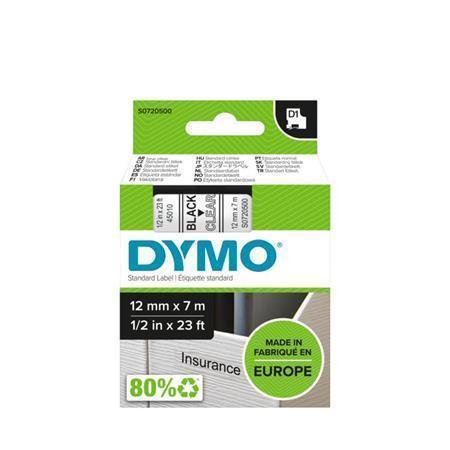 """Páska, 12 mm x 7 m, DYMO """"D1"""", průhledná-černá"""
