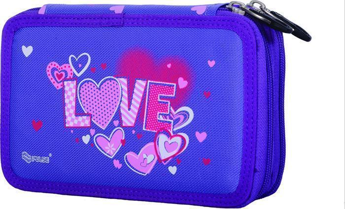 """Penál """"Love"""", fialová, dvoupatrový, PULSE"""
