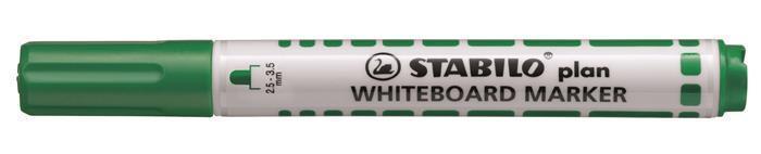 """Popisovač na bílou tabuli """"Plan"""", zelená, 2,5-3,5mm, kuželový hrot, STABILO"""