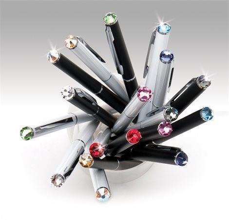 """Kuličkové pero """"SWAROVSKI® Crystals"""", bílá, krystal zelený, 13 cm"""