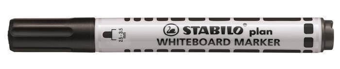 """Popisovač na bílou tabuli """"Plan"""", černá, 2,5-3,5mm, kuželový hrot, STABILO"""