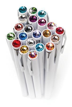 Kuličkové pero s krystaly SWAROVSKI®, magnetické, bílé, barva krystalu: peridot zelená