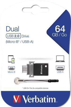 "64GB USB flash disk ""DUAL"", USB 2.0 + micro USB adaptér, VERBATIM"