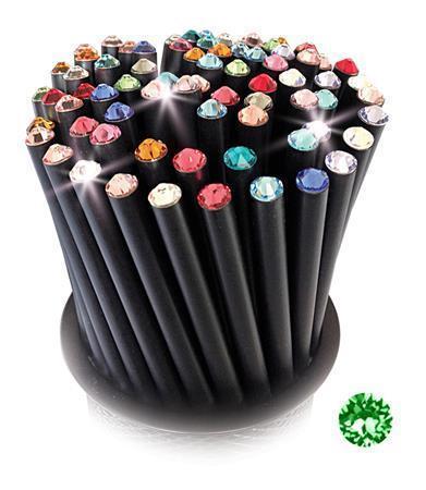 Grafitová tužka, SWAROVSKI® Crystals, zelená peridot, 17cm, černá Počet kusů v balení: 5