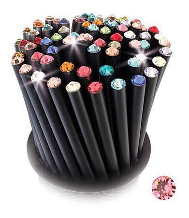 Grafitová tužka, SWAROVSKI® Crystals, světle lososová, 17cm, černá Počet kusů v balení: 5