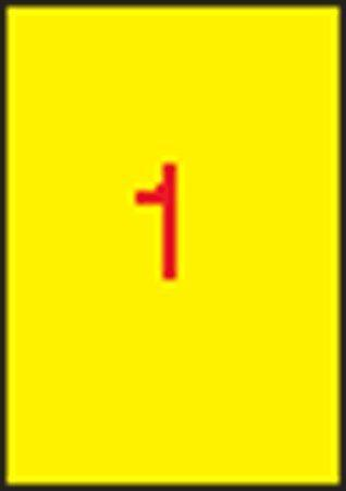 Etiketa, 210 x 297mm, žlutá, 100ks/bal., APLI Počet kusů v balení: 100