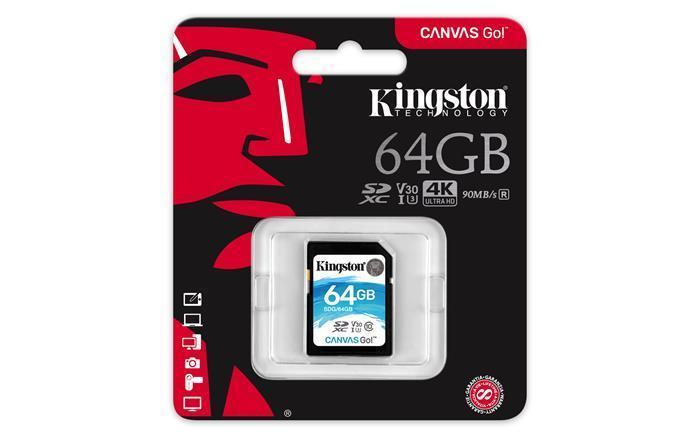 "Paměťová karta Micro SDXC,64GB, Class 10, U3 V30, 90/45MB/s, KINGSTON ""Canvas Go"""